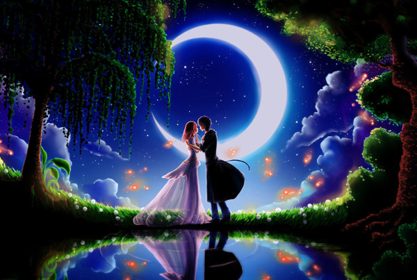 Couple Under Moonlight Valentines Day Wallpaper