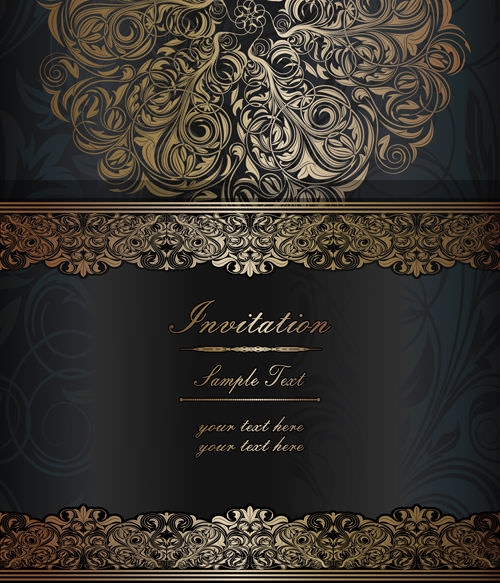 Dark Style Free Vector Vintage Floral Background Graphics Design