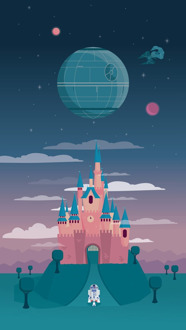 Disney & the Death Star iPhone Background