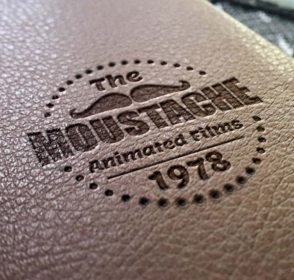 download free leather stamping logo mockup psd