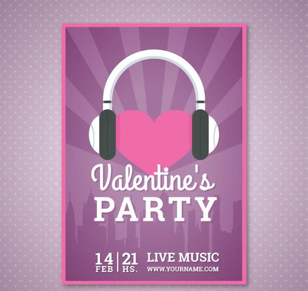 Elegant Free Valentine's Poster Design with DJ Theme