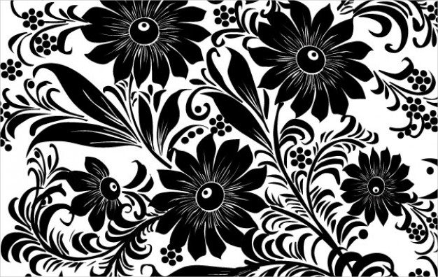 Fantastic Black & White Floral Background
