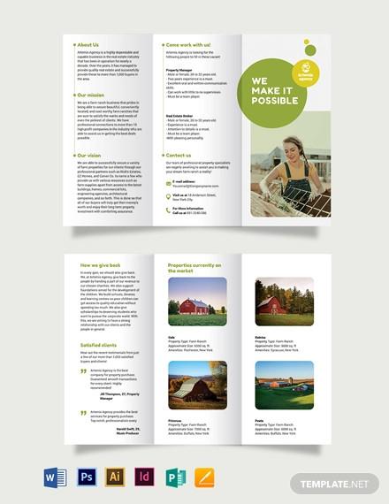 farm ranch sale tri fold brochure template