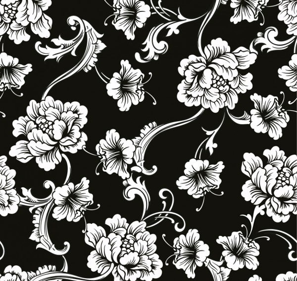 Floral Ornaments on Black Background