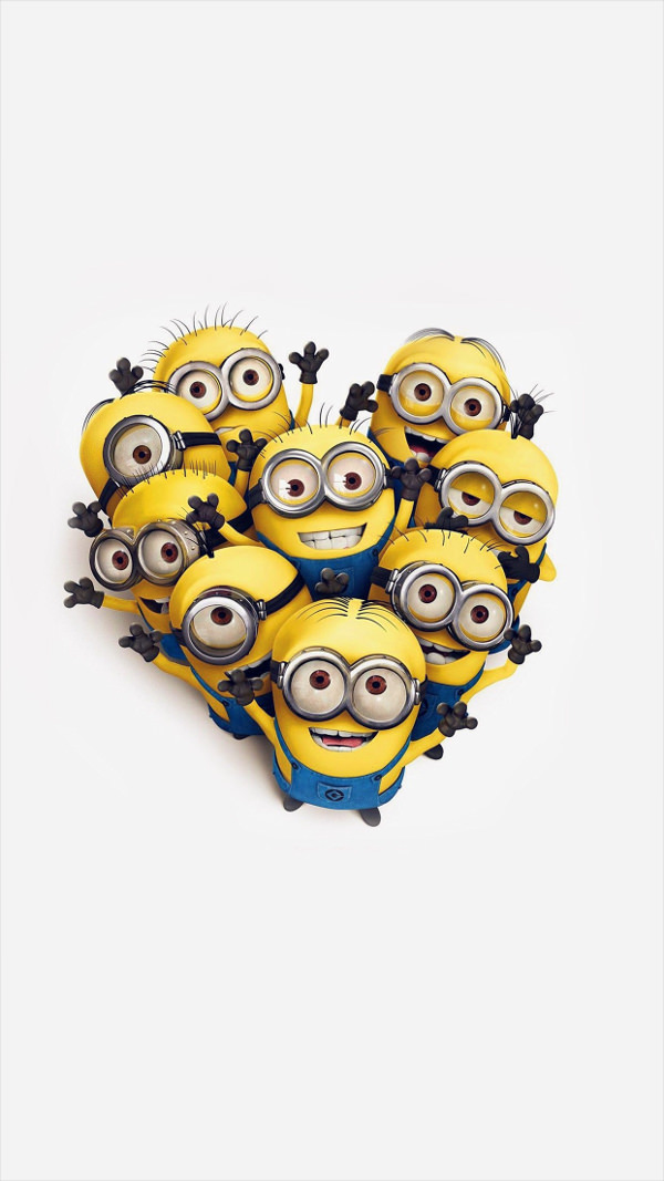 Free Minions Love Heart iPhone 6 Plus Background