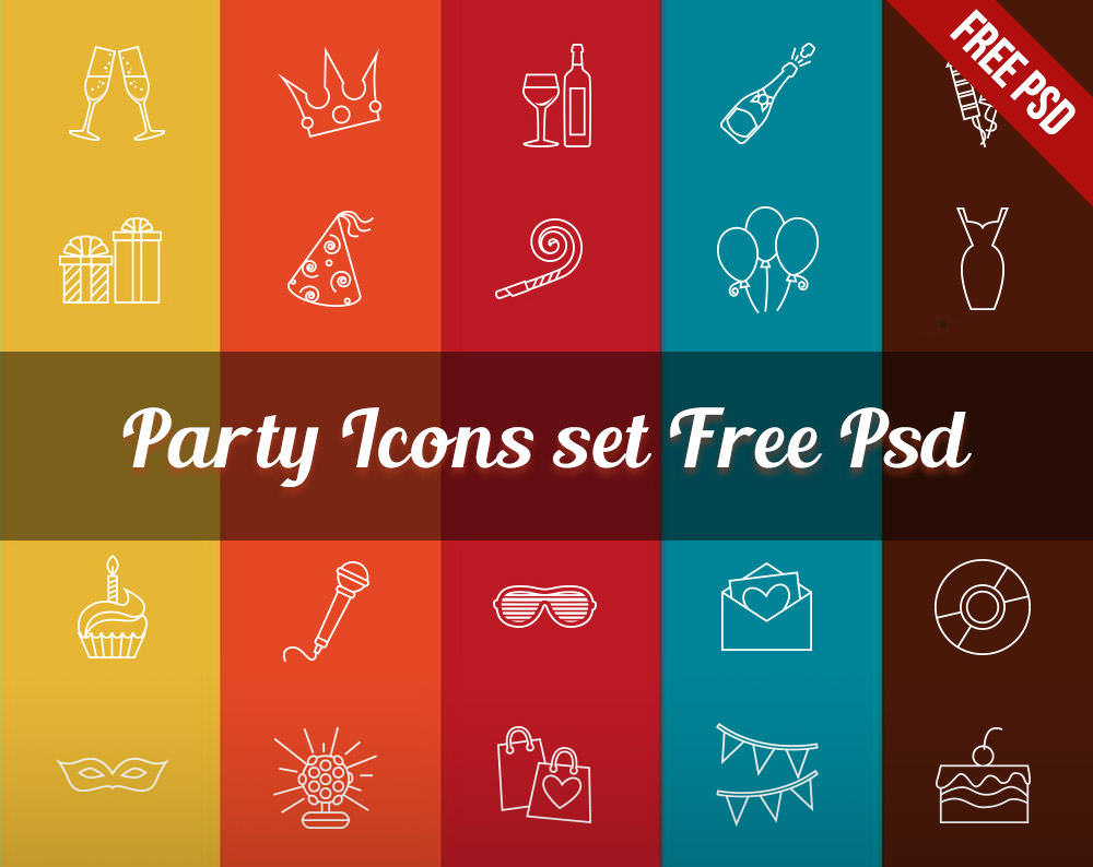Free Party Icons PSD