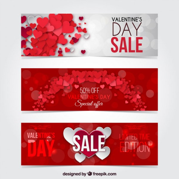 Free Valentine Day Discount Banners Pack