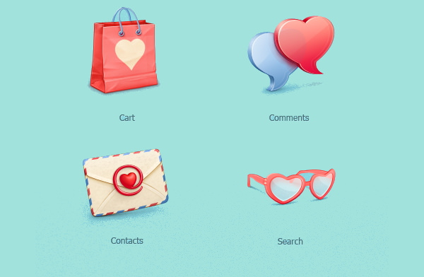 Free Valentines day Icons Set