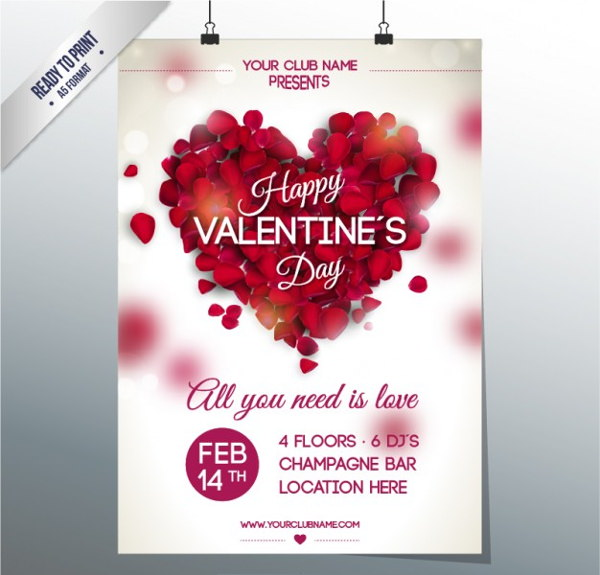 Free Vector Valentine's Club Party Poster Design