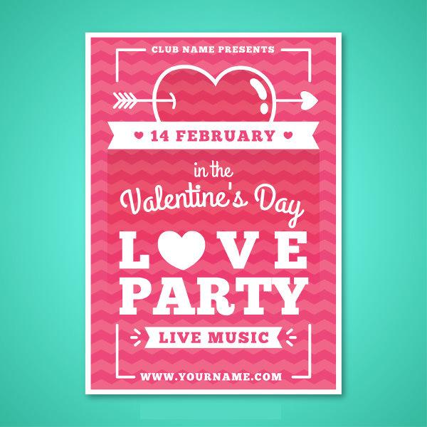 Free Vector Valentine's Poster Design