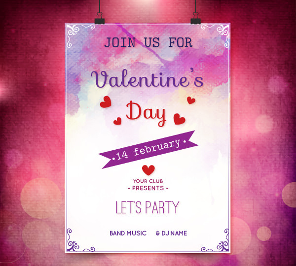 Free vector Watercolor Valentine's Poster Design