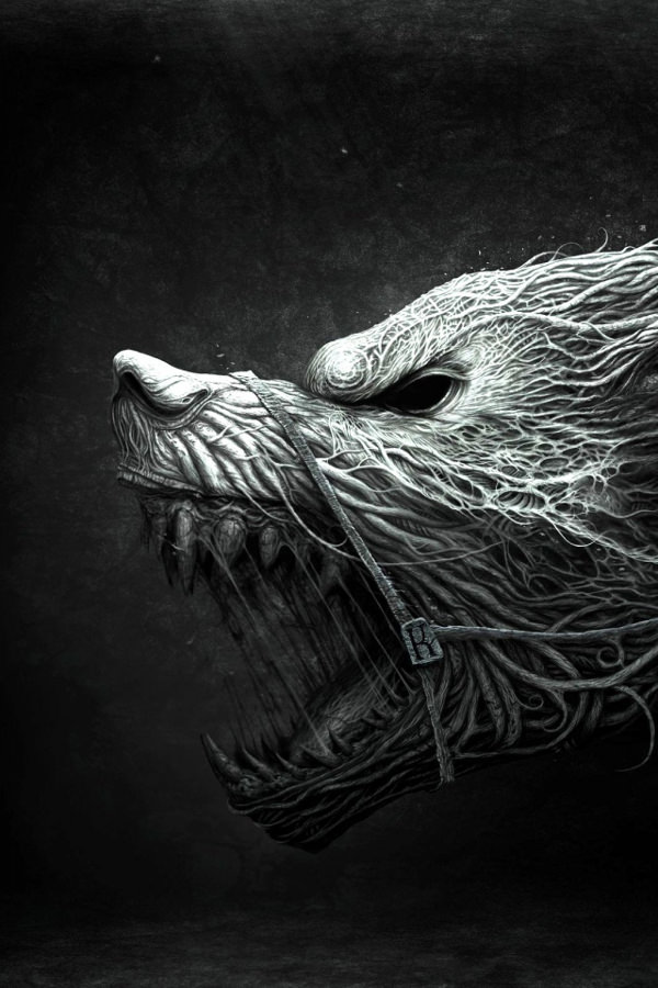 Furious Wolf Drawing For iPhone 4s Background