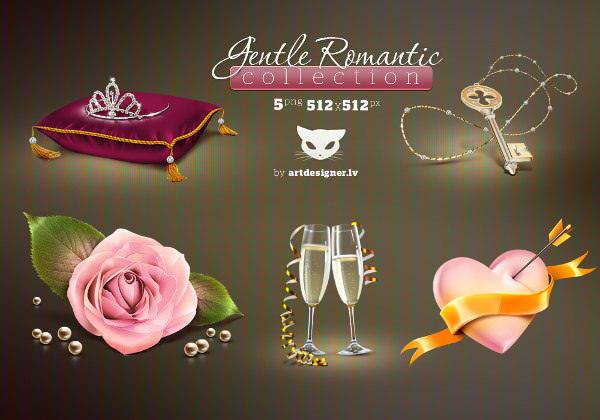 Gentle Romantic Valentine Icons Collection