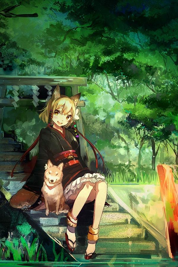 girl dog anime art illust iphone 4 background