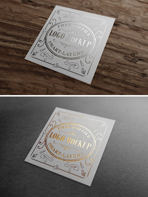 gold and silver stamp logo mockups