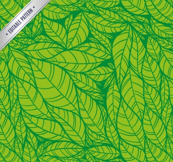 Green Leaves Hand Drawn Pattern