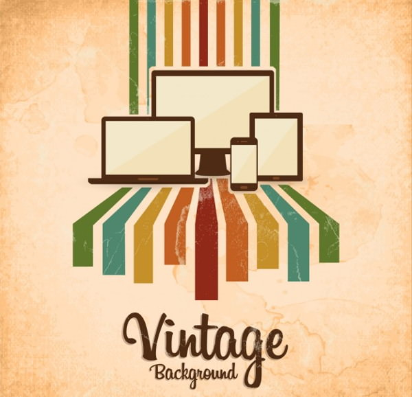 Grunge Style Vintage Background with Gadgets