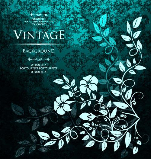 Grunge Style Vintage Floral Background