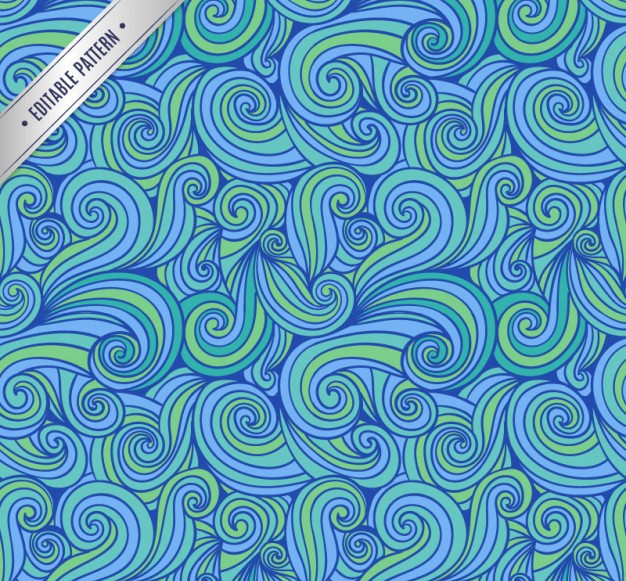 Hand Drawn Abstract Pattern Background in Blue