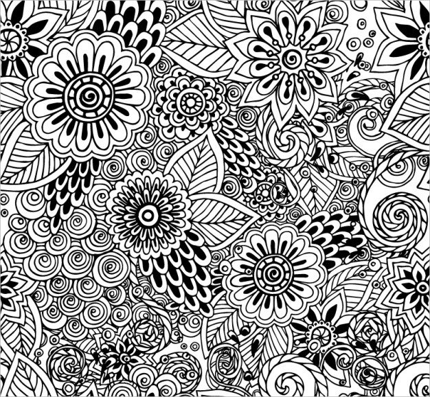 Hand Drawn Black & White Floral Background