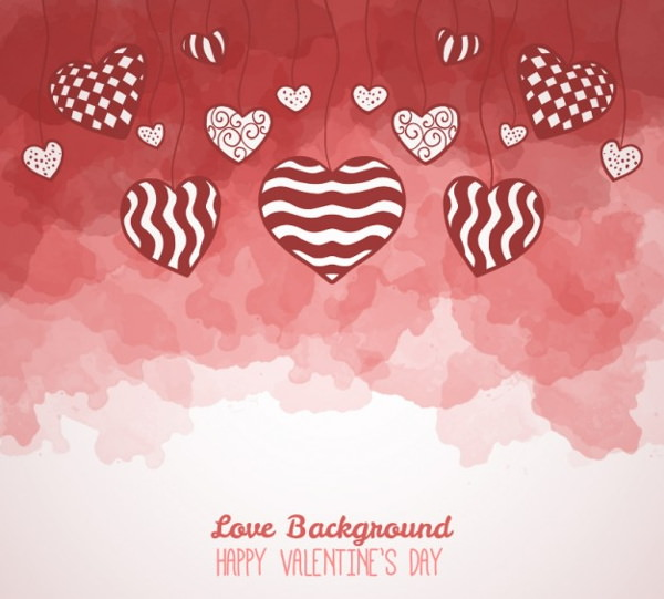 Hand Drawn Hearts on Watercolor Background