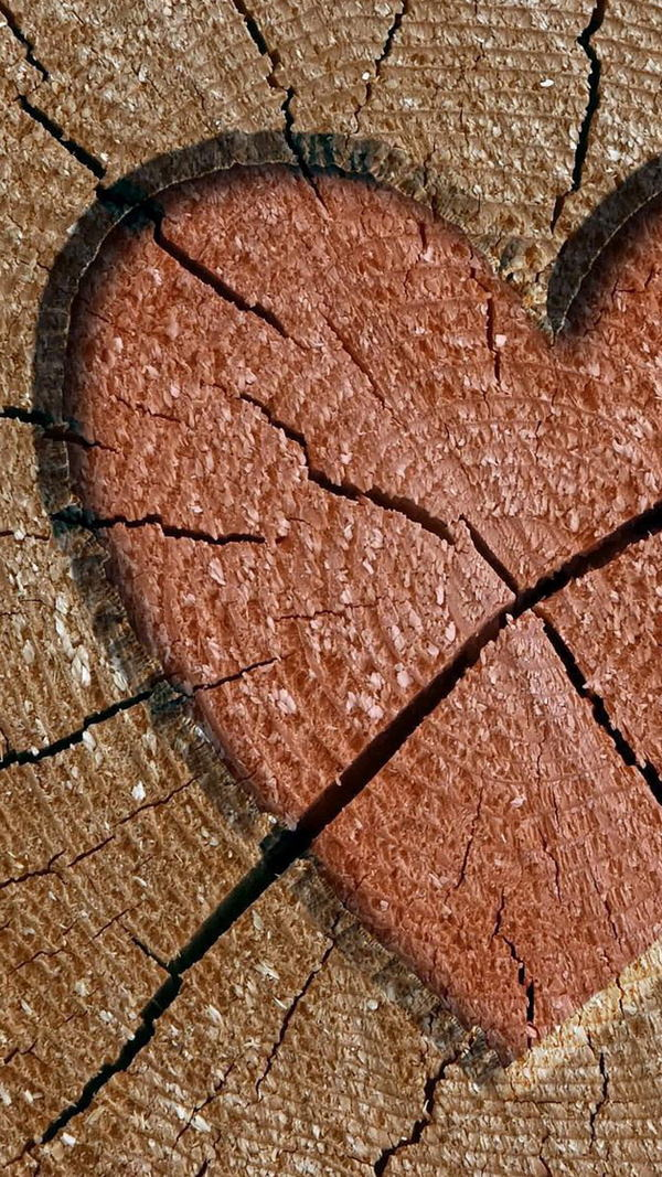 Heart Engraved in Wood iPhone 6 Background