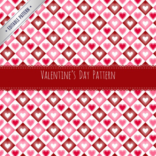 Heart Rhombus Valentines Day Pattern