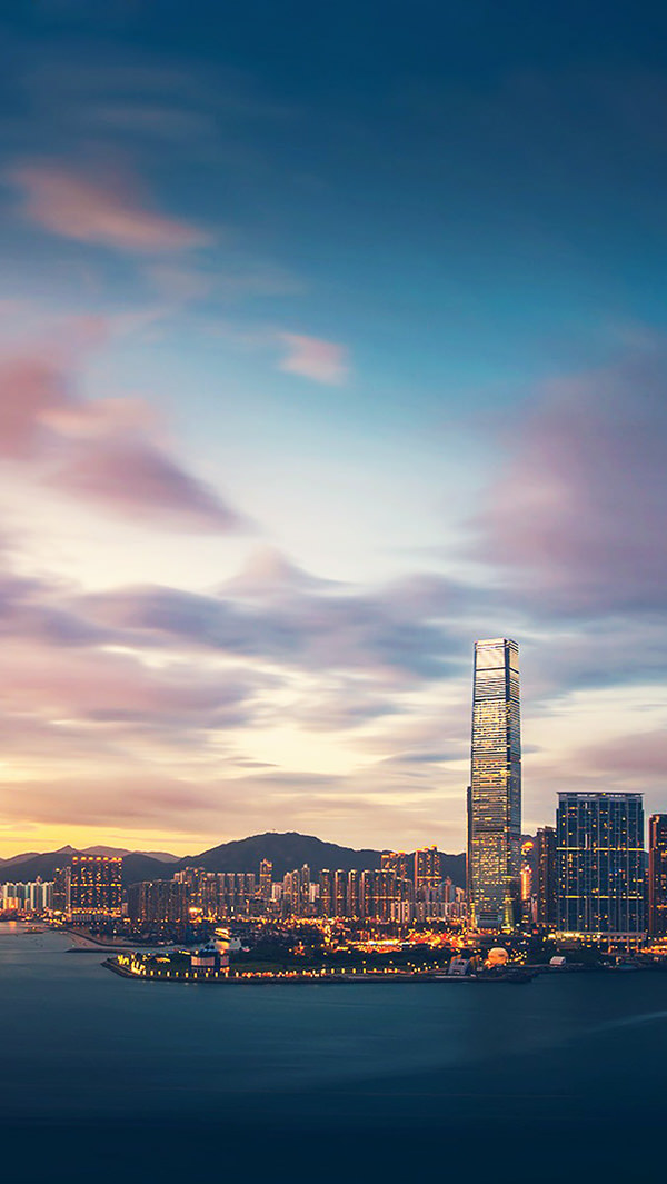 Hong Kong Sunset City Bay iPhone 5 Background