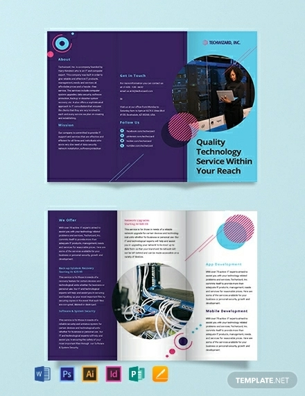 it company tri fold brochure template