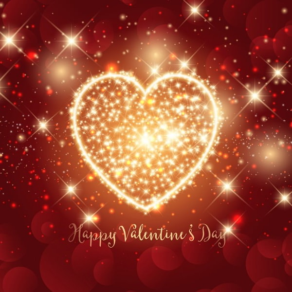 Lovely Valentine Background with Sparkly Heart Design