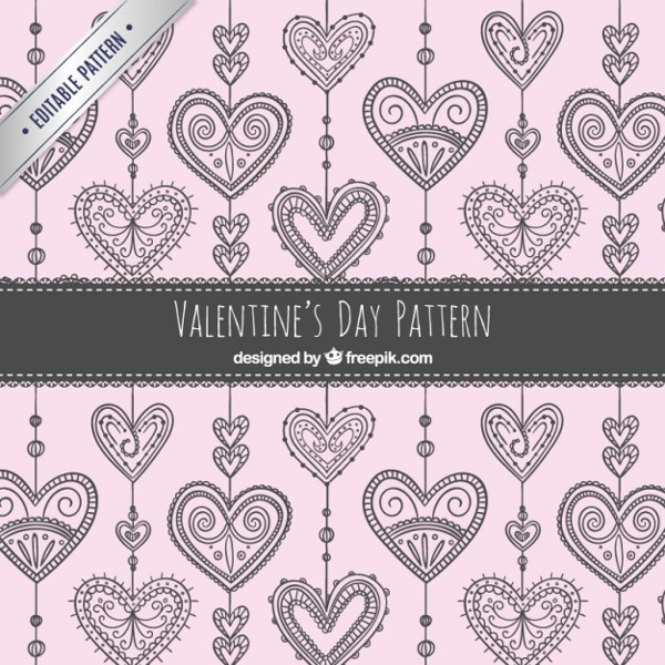 Ornamental Hearts Valentines Day Pattern