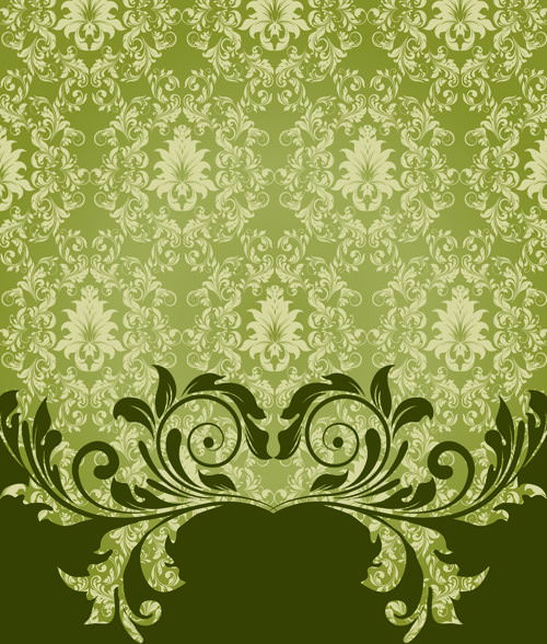 Ornate Vintage Floral Background Vector Set