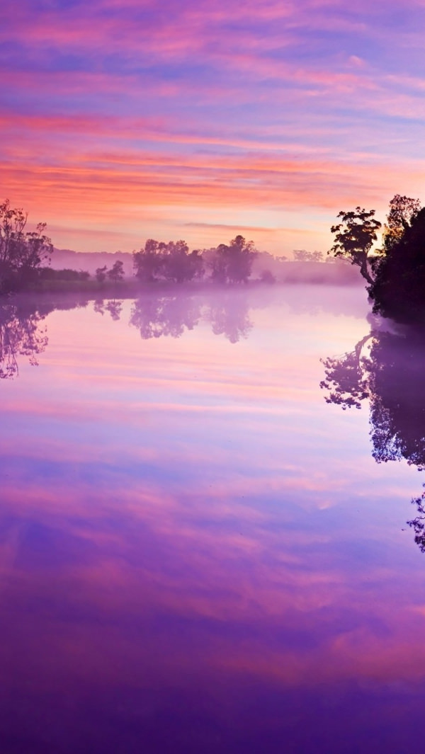 Purple Sky Reflects on River Background For iPhone
