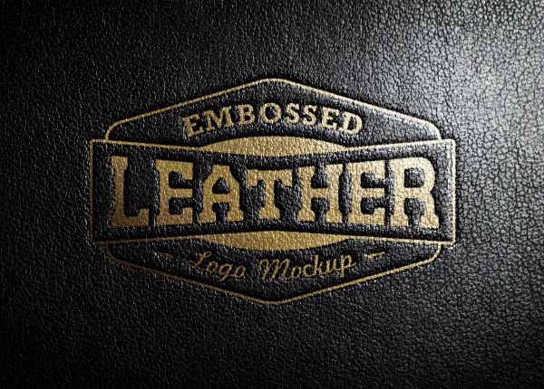realistic embossed black leather stamping logo mockup psd