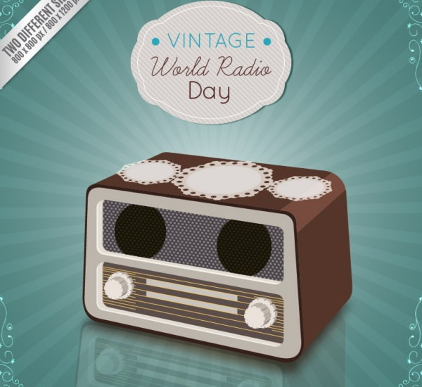 Realistic Radio Day Background in Vintage Style