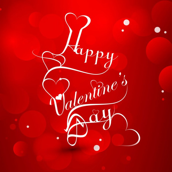 Red Color Greeting Card of Valentines Day