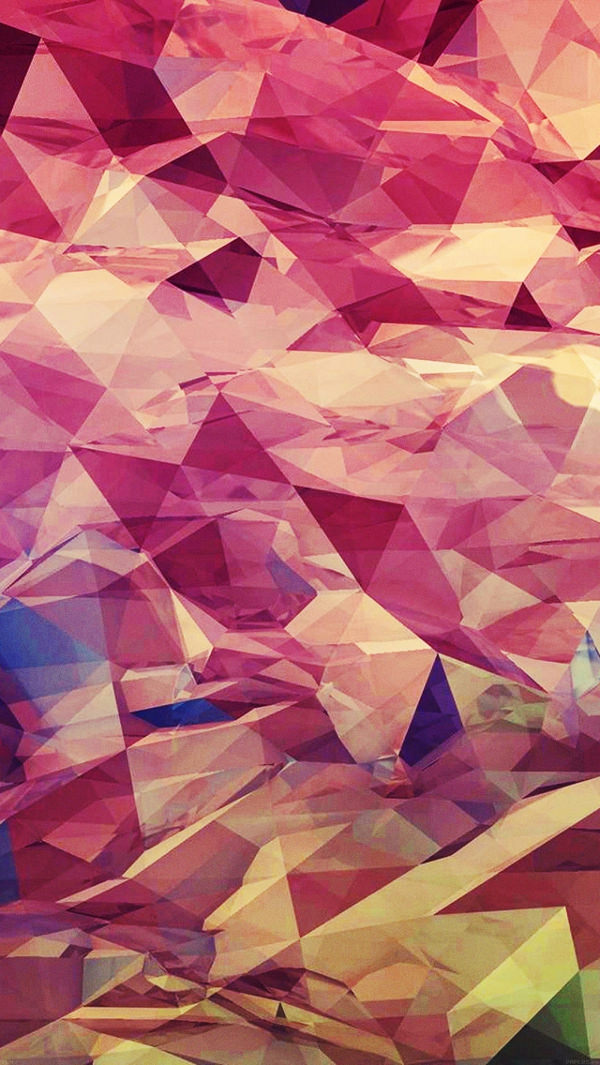 Red Polygon Line Art iPhone Background