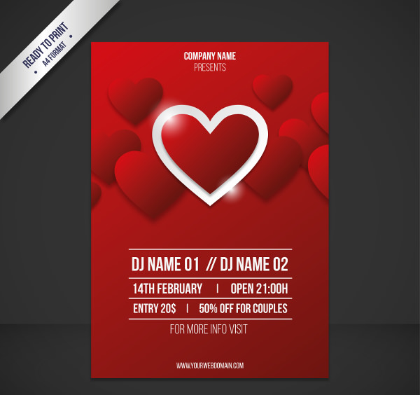 Red Valentine's Day Poster Design Free Vector