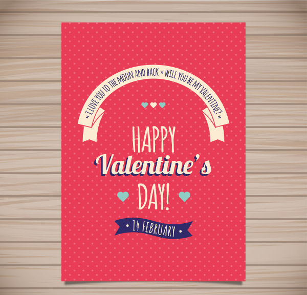 Retro Happy Valentine's Day Poster Design
