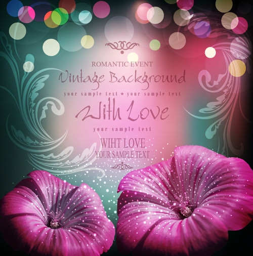 Romantic Effect Free Vector Vintage Flower Background