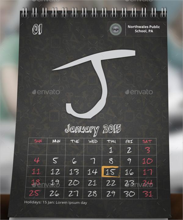 School Desk Calendar Design