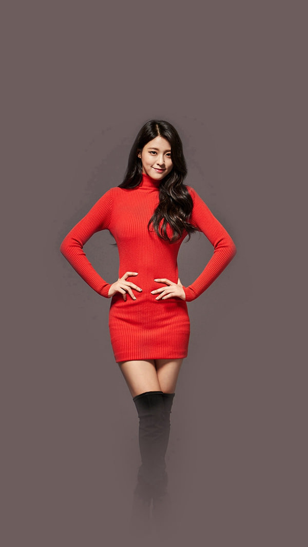 Seolhyun Aoa in Cute Red iPhone 5s Background