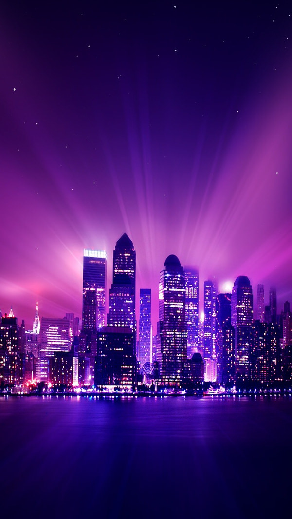 Shine Purple City Night iPhone 5s Background