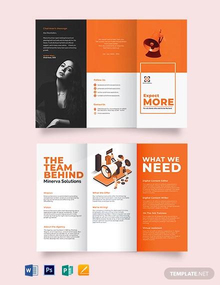 simple company profile tri fold brochure template
