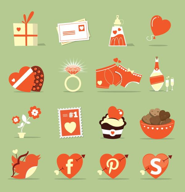 St Valentine Day icons