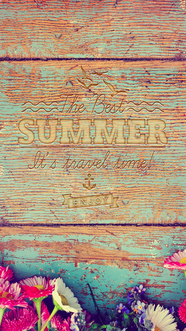 Summer Travel Time Wood iPhone 6 Background
