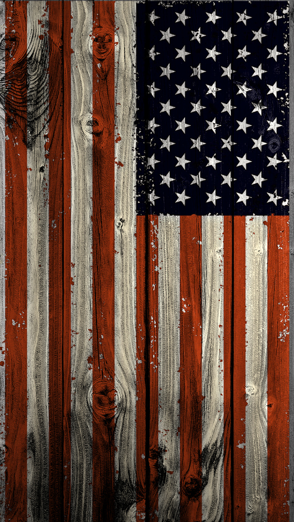 US Flag on Wooden iPhone 5s Background