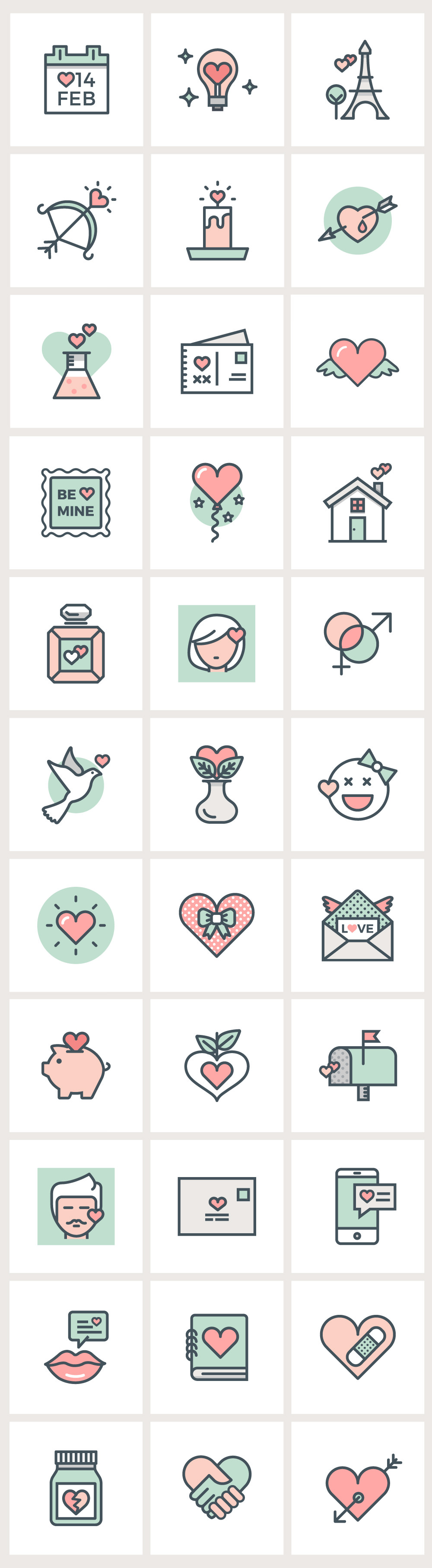 Valentine's Day Flat Line Icons