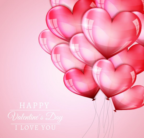Valentine Background with Hearts Balloons
