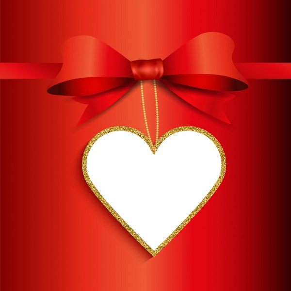 Valentine Day Gift Background with Heart Shaped Glitter Label